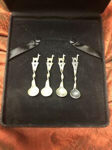 Set Of Four 2 3 4 Twisted Sterling Silver Salt Cellar Spoons