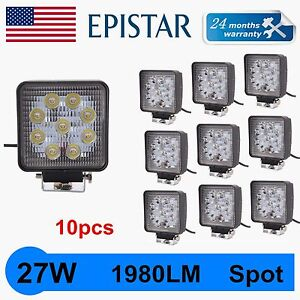 10x 27w Led Work Light Fog Lamp Truck Offroad Tractor Spot Lights 12v 24v Square