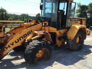 2004 Hyundai Hl740 7 4x4 Wheel Loader W Snow Pusher Needs Work
