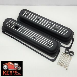 Small Block Chevy Center Bolt Aluminum Valve Covers Black Ball Milled Vortec 350