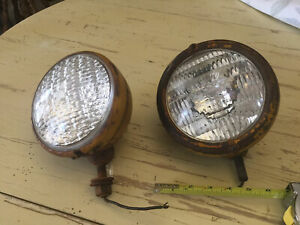 Vintage Headlights 1920 40 s Car Truck Tractor Patina 6 5 Outside Mounts Lamps