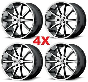 22 Black Chrome Wheels Rims Staggered Asanti
