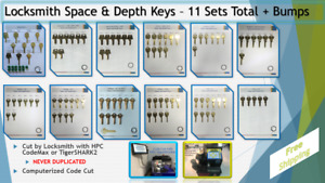 Locksmith Space And Depth Keys 11 Sets Total Bumps Hpc Computerized Cut