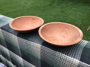 Set Of 2 Vintage Granville Company Made In Vermont Wooden Salad Bowls 8 Vgc