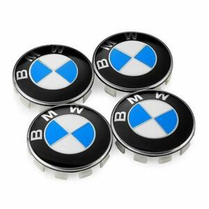 Set Of 4pcs Blue Bmw Wheel Center Caps Emblem 68mm Carbon Fiber Logo Rim Hub Cap