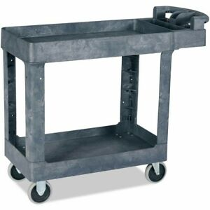 Plastic Utility Service Cart With 2 Shelves Rolling Push Handle 550 Lbs Capacity