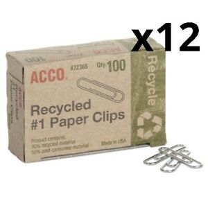 Recycled Paper Clips Small no 1 Silver 100 box 10 Boxes pack Pack Of 12