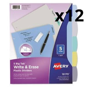 Write And Erase Big Tab Durable Plastic Dividers 3 hold Punched 5 tab 11 X