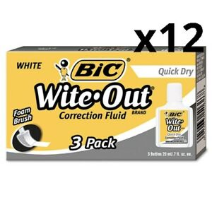 Wite out Quick Dry Correction Fluid 20 Ml Bottle White 3 pack Pack Of 12