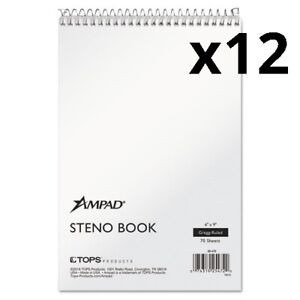 Spiral Steno Book Gregg 6 X 9 15 Lb White 70 Sheets Pack Of 12