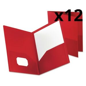 Poly Twin pocket Folder Holds 100 Sheets Opaque Red Pack Of 12