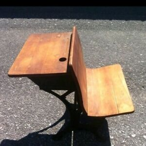 Antique Child S School Desk Wood Cast Iron 1920 S