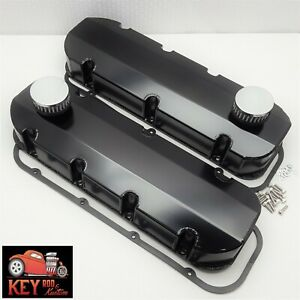 Big Block Chevy Black Fabricated Valve Covers Bbc Sheet Metal 454 396 Breathers