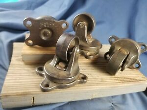 Set Of 4 Antique Cast Iron Industrial Swivel Caster Wheels