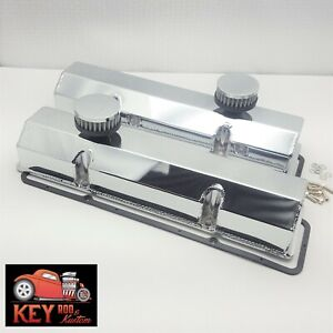 Small Block Chevy Chrome Fabricated Welded Aluminum Valve Covers Breathers