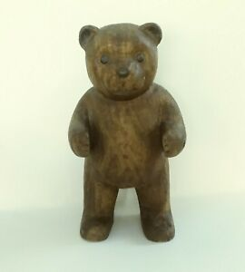 Antique Pre 1930s Signed Sv Carved Wood Teddy Bear 12 In Height