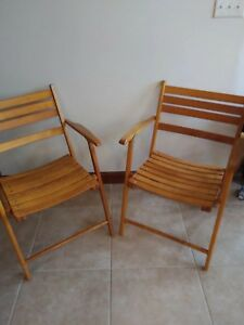 Mid Century 50s Telescope Club Deck Folding Wooden Chair Two Chairs