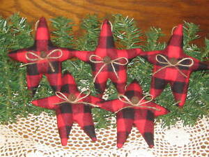 5 Handmade Buffalo Plaid Fabric Stars Bowl Fillers Country Christmas Home Decor