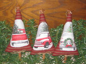 3 Handmade Old Red Truck Christmas Ticking Fabric Trees Ornaments Home Decor