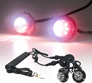 12 W Led Hide Away Emergency Patrol Truck Warning Flash Strobe Lights Red White