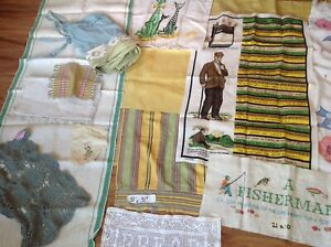 Lots Of Antique Vintage Linen Embroided Sampler Must See All