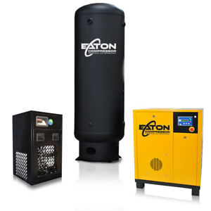 60hp Rotary Screw Air Compressor With Dryer 240 Gallon Tank Pkg 3 Phase 230v