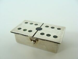 Vintage Taxco Mexican Sterling Silver Dominoes Domino Tile Top Pill Box