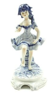 Vintage Capodimonte Collectors Figurine Dancer Doll Lady Blue Hair 10 1 2 Italy