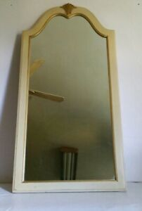 Vintage Mid Century French Provincial Art Deco White Cream Gold Wood Wall Mirror