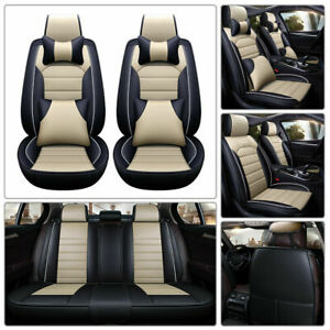 Us Luxury 5 seats Car Seat Cover Pu Leather Front rear Suv Cushion Set Universal
