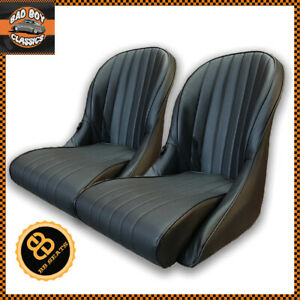 Pair Bb Vintage Classic Car Bucket Seats Low Rounded Back Universal Design