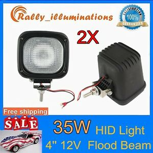 2pcs 35w 12v 4inch Xenon Hid Work Light 6000k Spot Square Offroad Boat Fog Lamp