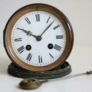 Good Antique French Bell Strike Clock Movement Pendulum Backdoor Japy Freres