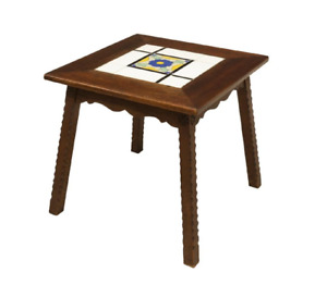 1930 S Vintage California Mission Tile Top Oak Wood Side End Table