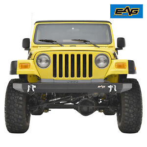 Eag Front Bumper With D rings Textured Black Fit 87 06 Jeep Wrangler Tj Yj
