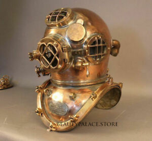 Royal U S Navy Mark V Solid Copper Brass Heavy Diving Divers Helmet Solid Style