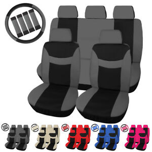 5 Seater Auto Seat Covers W Steering Wheel Belt Pad Head Rest Protectors
