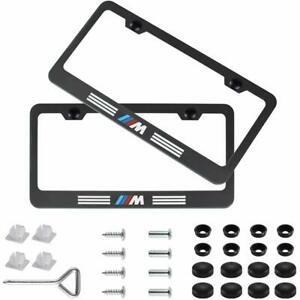 Matte Black M Style Stainless Steel License For Bmw Plate Frame With Screw Caps