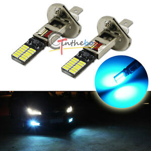 2pcs Ice Blue H1 24 Smd 4014 Led Bulbs For Fog Lamps Drl Daytime Running Lights
