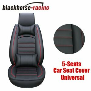 Universal 5 seats Front rear Car Seat Cover Full Cushion Pu Leather W pillow