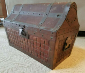 Old Liquor Bottle Chest Trunk High Humpback Dome Pirate Treasure
