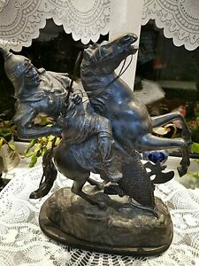 Large Antique 19th C Spelter Medieval Knight Sculpture Warrior On Horse Statue