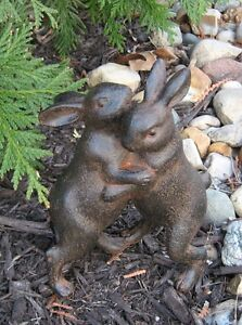 Hugging Bunny Rabbits Sculpture Primitive Home French Country Farmhouse Decor