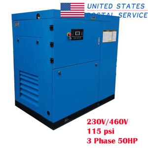 Industrial Rotary Screw Air Compressor 220cfm 50hp 115psi 3600motor Rpm Usps
