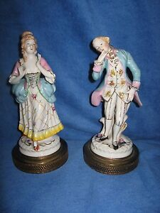 Antique Dresden French Aristocrats Man Woman Figurine Originally Dresser Lamps