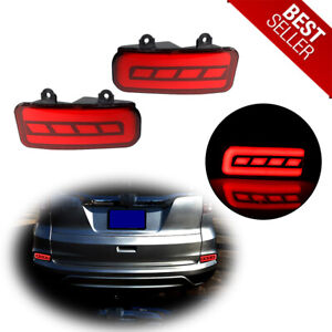 For 2015 2016 Honda Crv Rear Bumper Reflector Red Led Foglight Brake Tail Lights