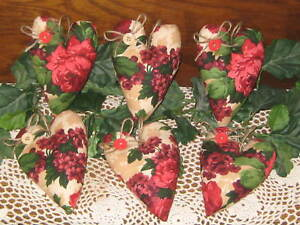 6 Rose Hearts Fabric Bowl Fillers Valentine S Day Wreath Accents Country Decor