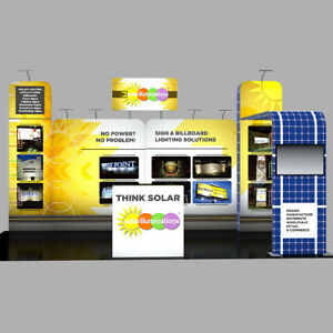 20ft Custom Trade Show Display Booth Kits Pop Up Stand With Counters Tv Bracket