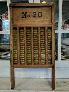 Vintage Large Anniversary Brass No 30 Washboard