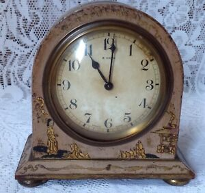 Antique Japanned Bayard D B 8 Day Lever Movement French Clock